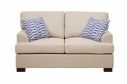 Camille Beige Wood Loveseat