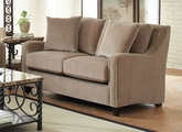 Beige Wood Loveseat
