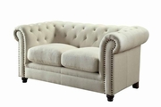 Roy Beige Fabric Loveseat