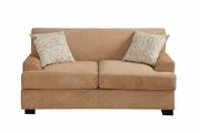 Nia Beige Wood Loveseat