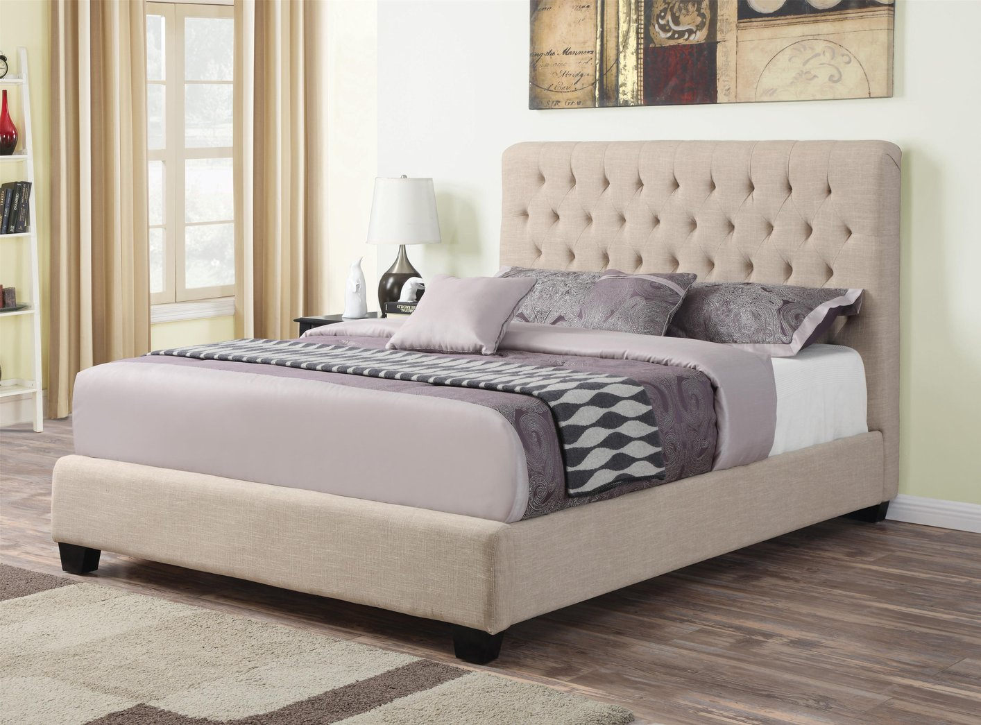 Coaster 300007q Beige Queen Size Fabric Bed Steal A Sofa Furniture Outlet Los Angeles Ca
