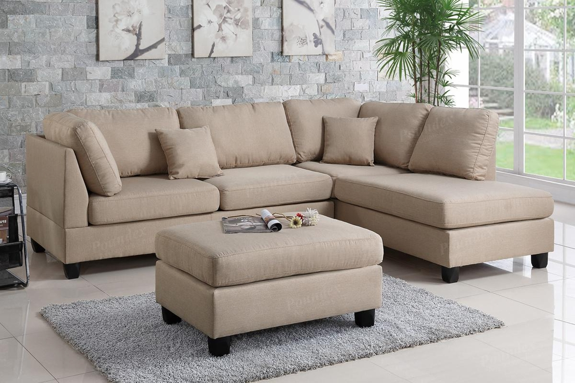 Brown fabric sectional sofa and ottoman steal a sofa for Sectional sofa los angeles ca