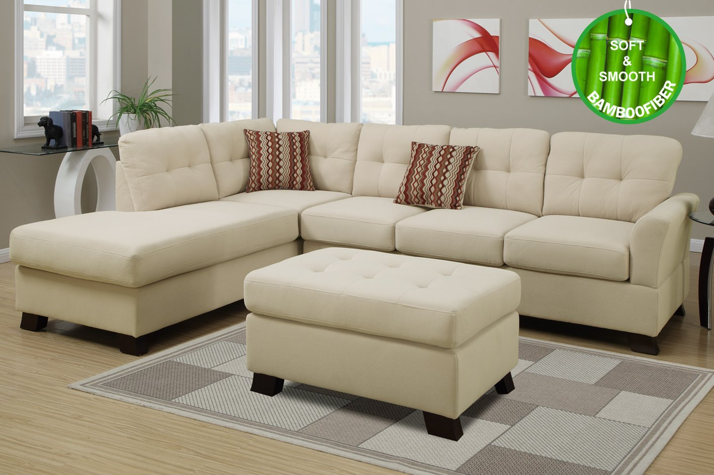 Bon Beige Fabric Sectional Sofa And Ottoman