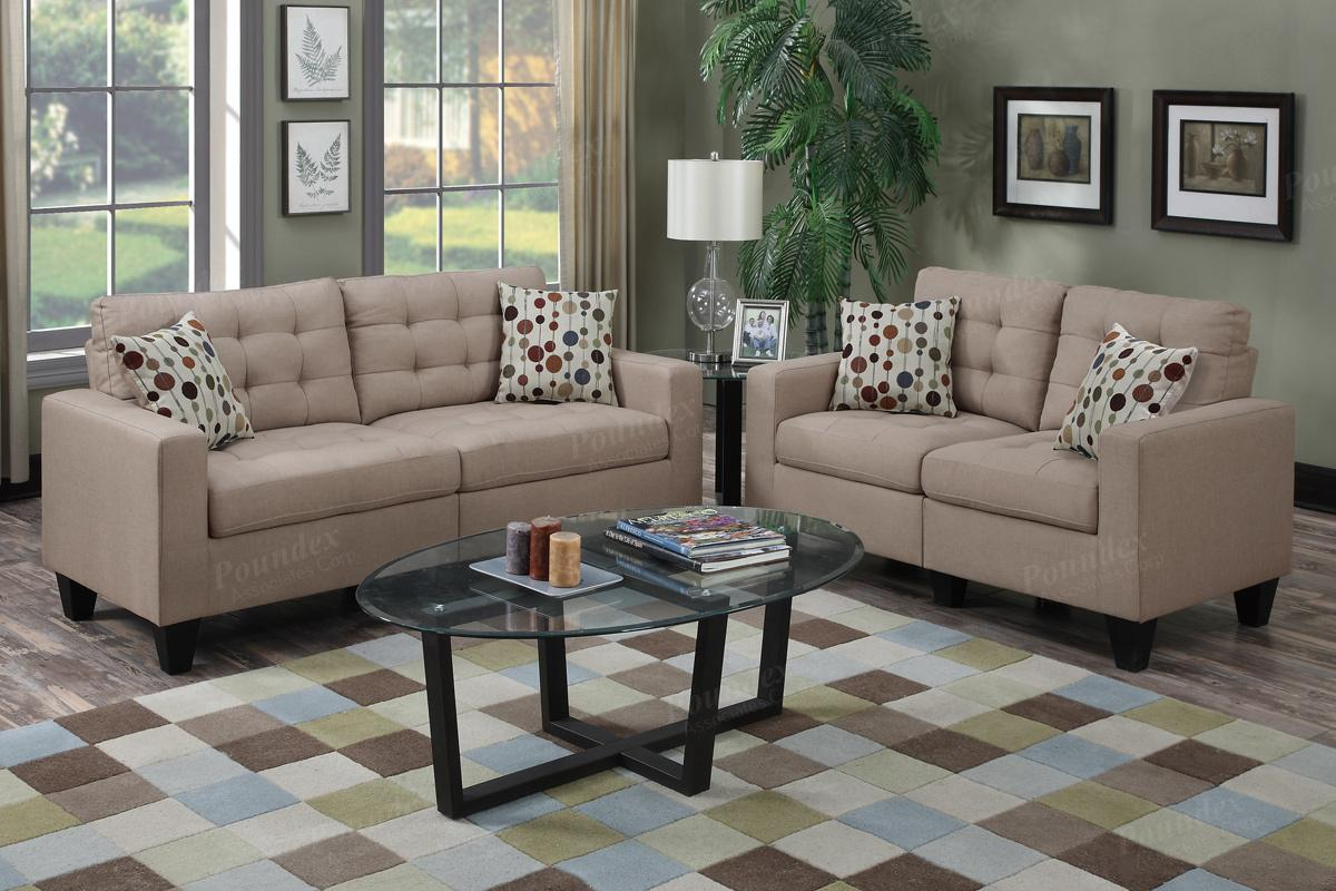 Acy Brown Fabric Sofa and Loveseat Set - Steal-A-Sofa Furniture ...
