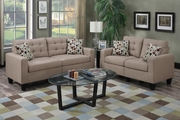 Acy Brown Fabric Sofa and Loveseat Set