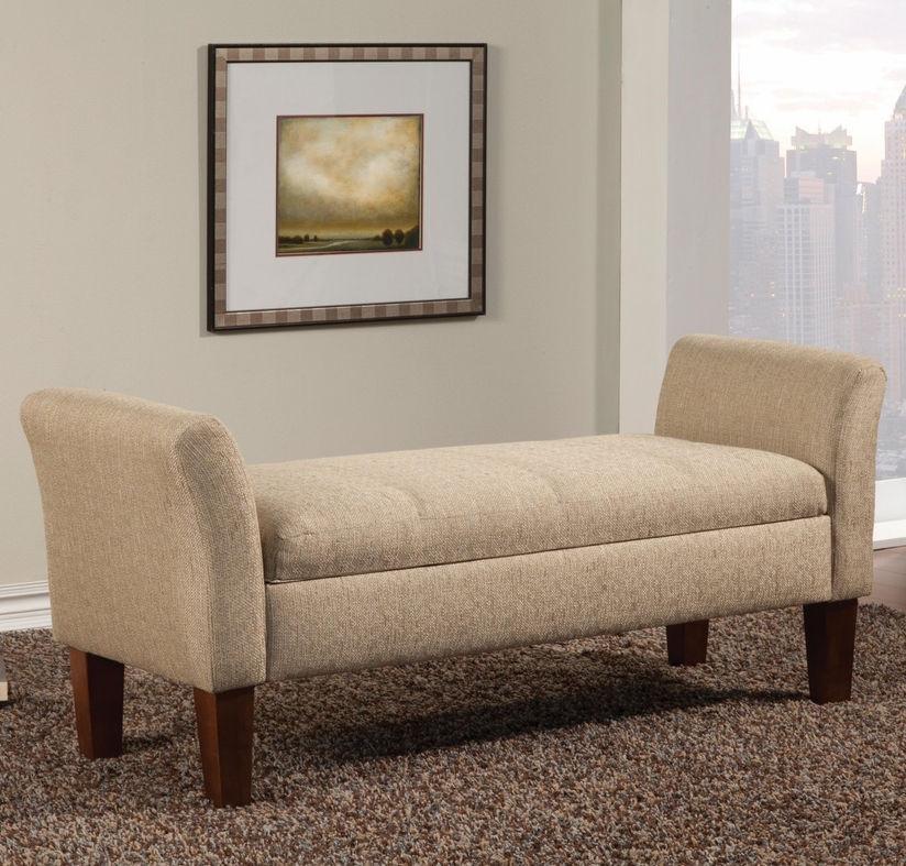 Beige Fabric Storage Bench Steal A Sofa Furniture Outlet Los Angeles Ca
