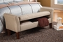 Beige Fabric Storage Bench