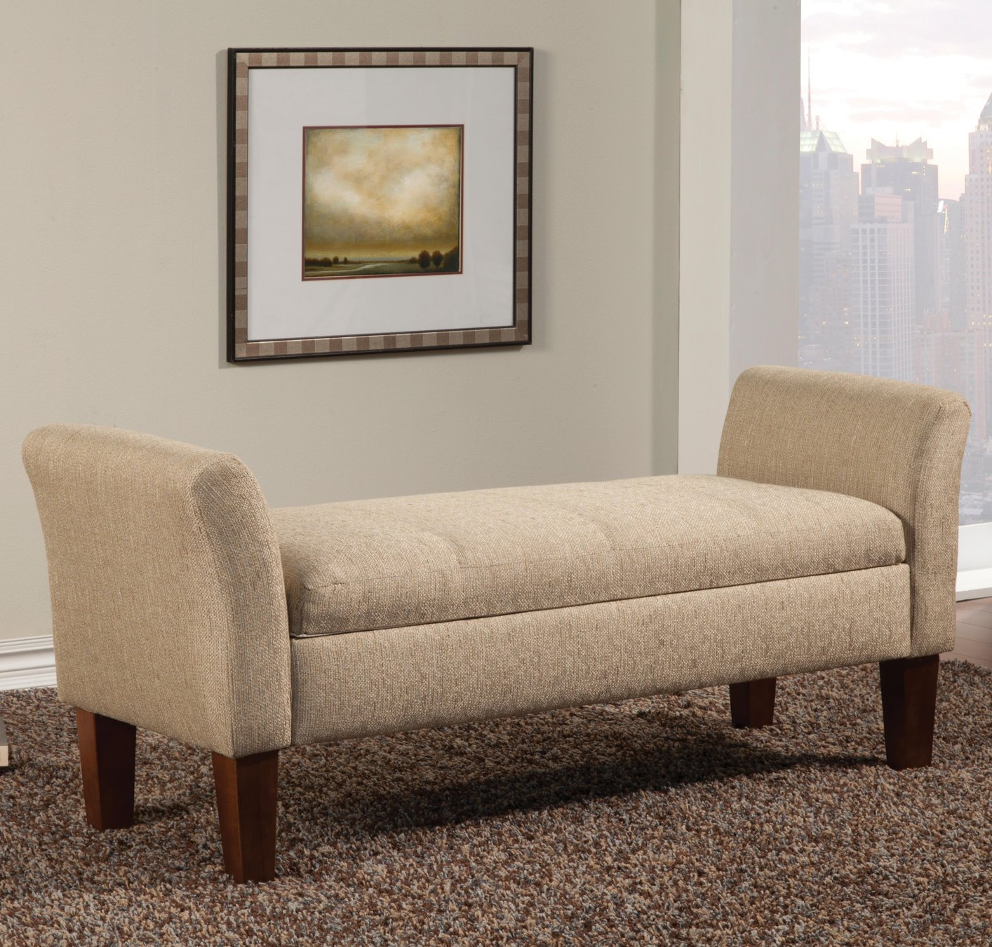 Beige Wood Storage Bench Sofa Bench With Storage44