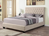 Beige Fabric Twin Size Bed