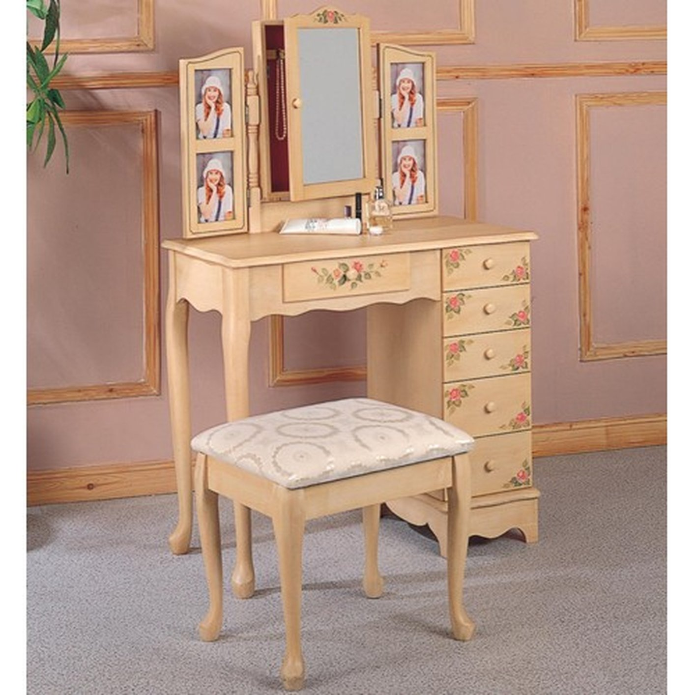 Beige Fabric Vanity Set with Stool - Steal-A-Sofa Furniture Outlet ...