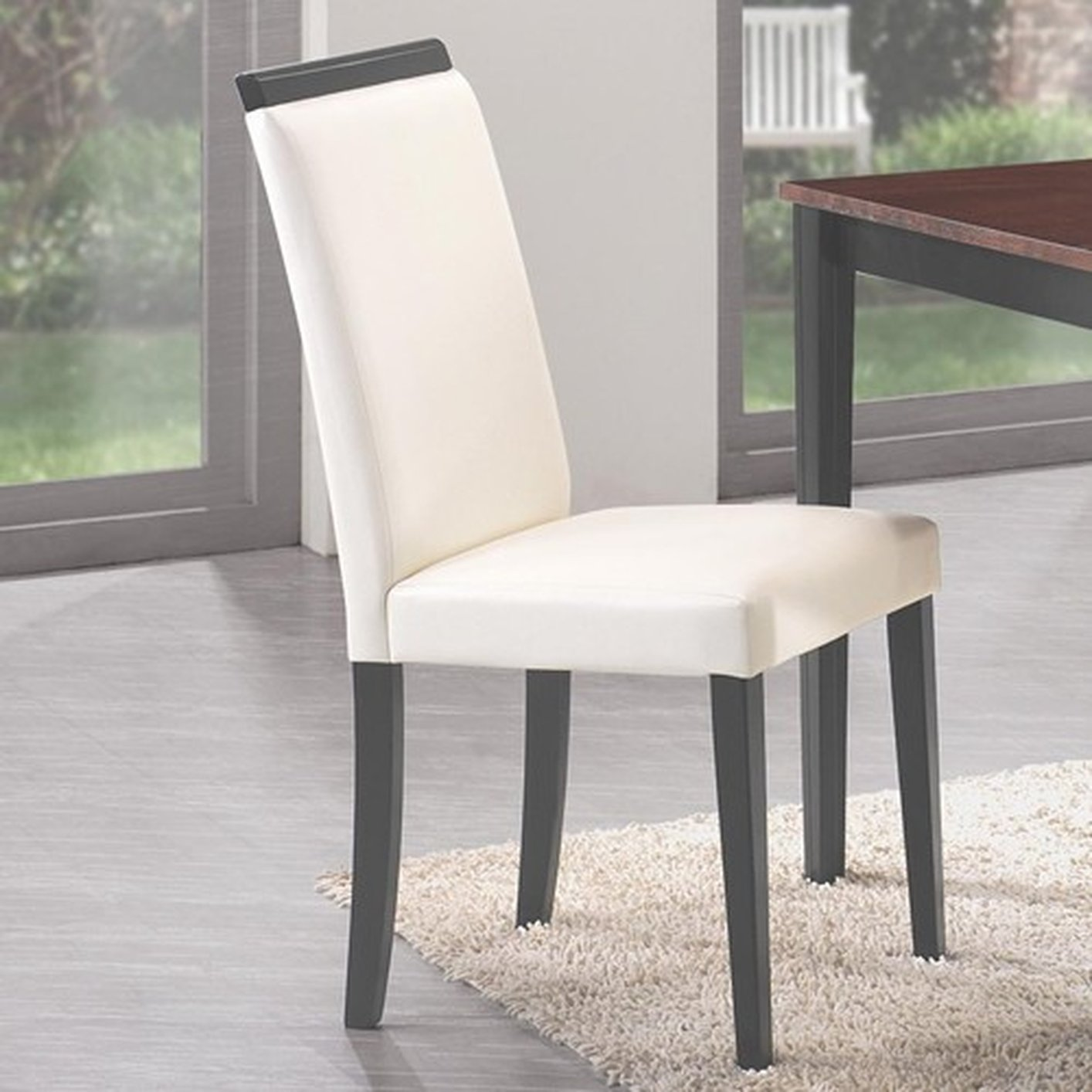 Beige leather dining chair steal a sofa furniture outlet for Furniture 90036