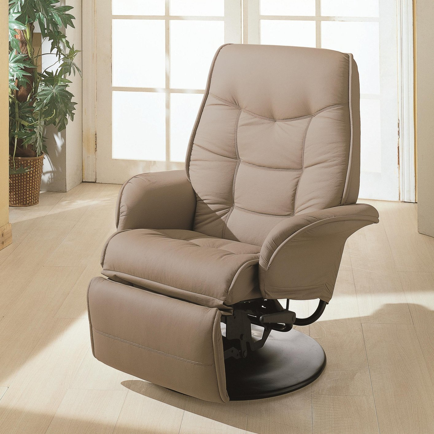 Coaster 7502 beige leather reclining chair steal a sofa for Furniture 90036