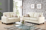 Anse Beige Leather Sofa and Loveseat Set
