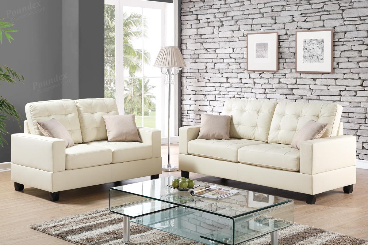 Ordinaire Anse Beige Leather Sofa And Loveseat Set