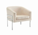 Beige Metal Accent Chair