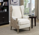 Beige Wood Accent Chair