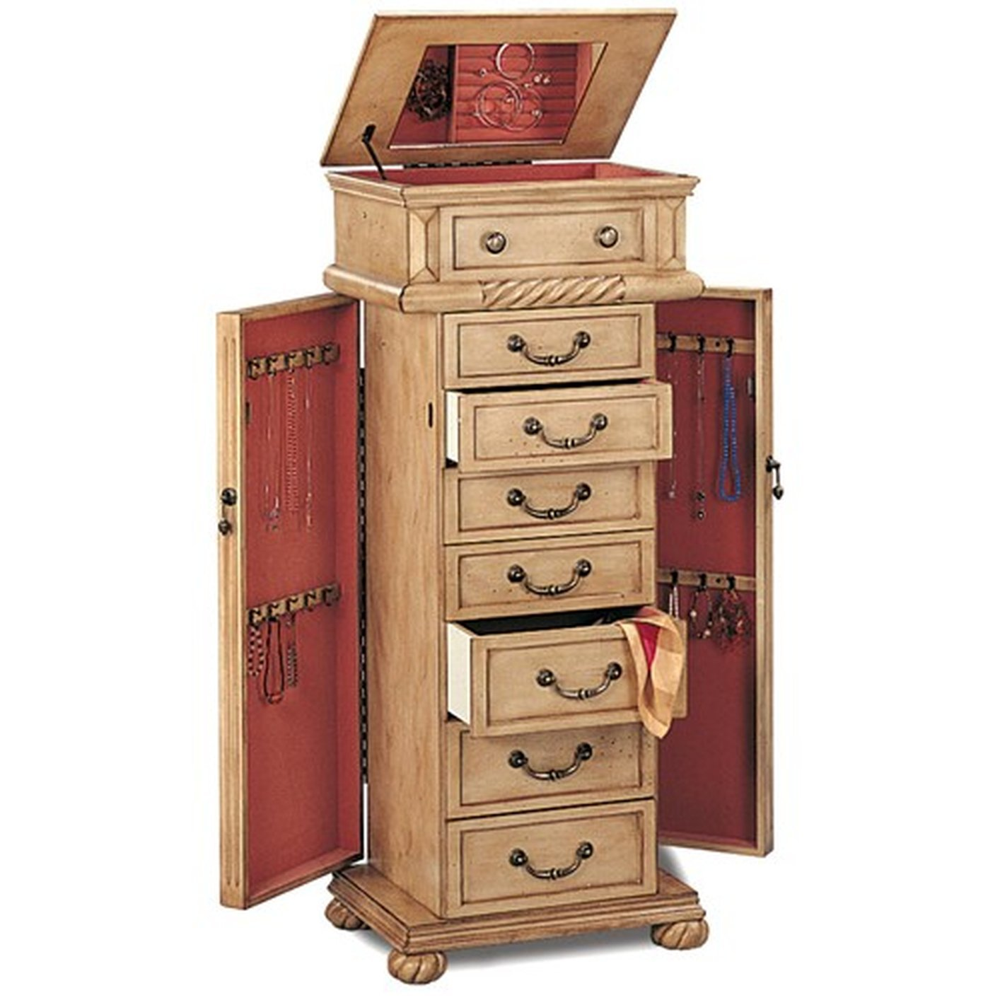Beige Wood Jewelry Armoire Steal A Sofa Furniture Outlet