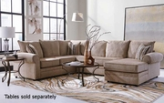Beige Wood Sectional Sofa