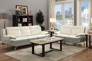 Beil White Leather Sofa and Loveseat Set