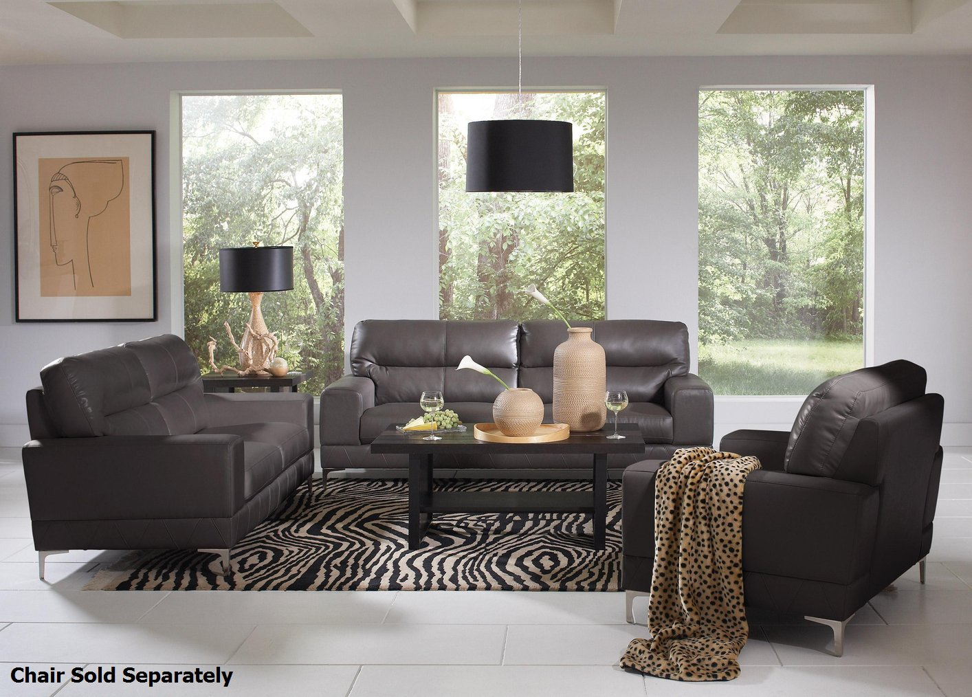 Grey leather sofa and loveseat poundex f7774 grey for Gray leather sofa set