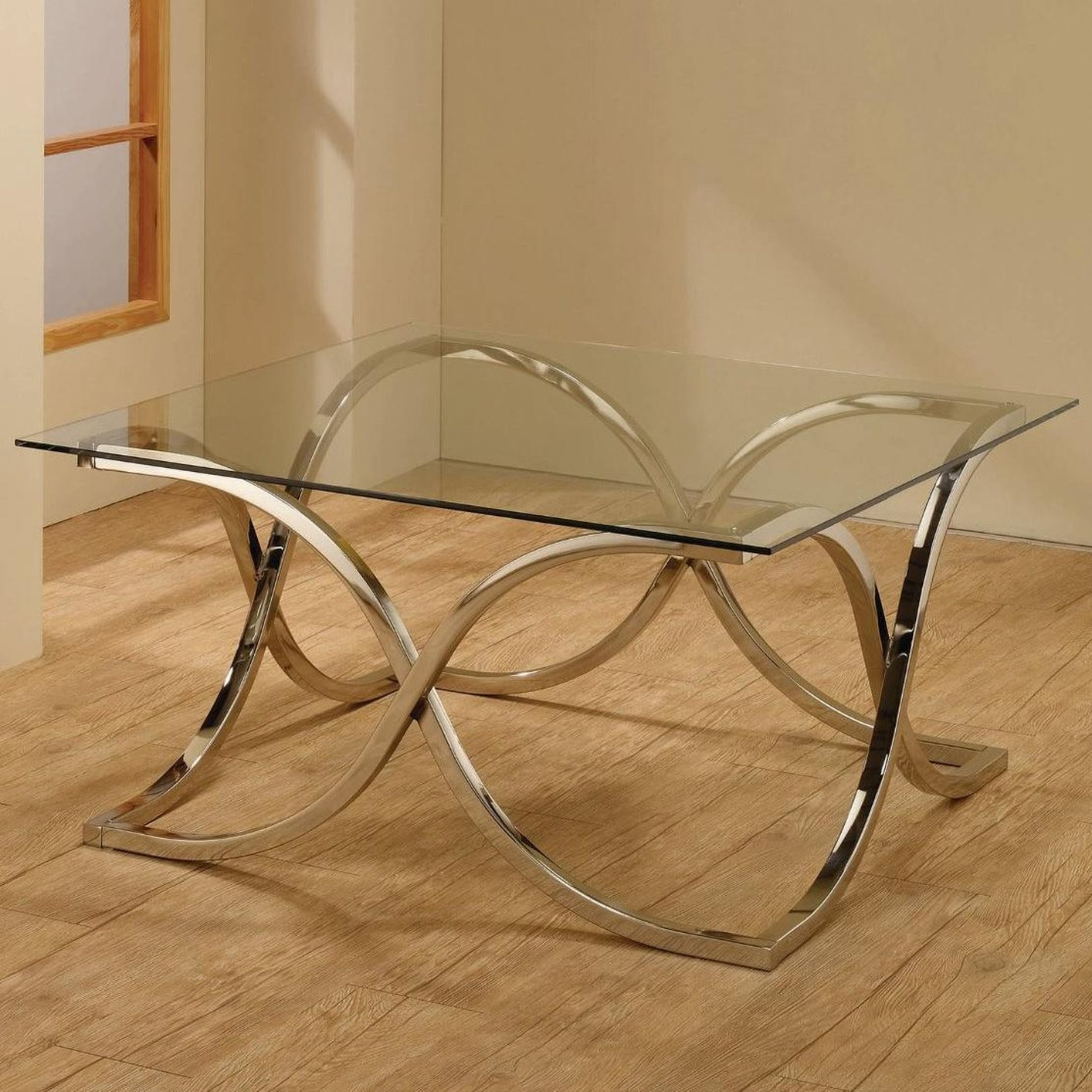 Silver Metal And Glass Coffee Table: Steal-A-Sofa Furniture Outlet