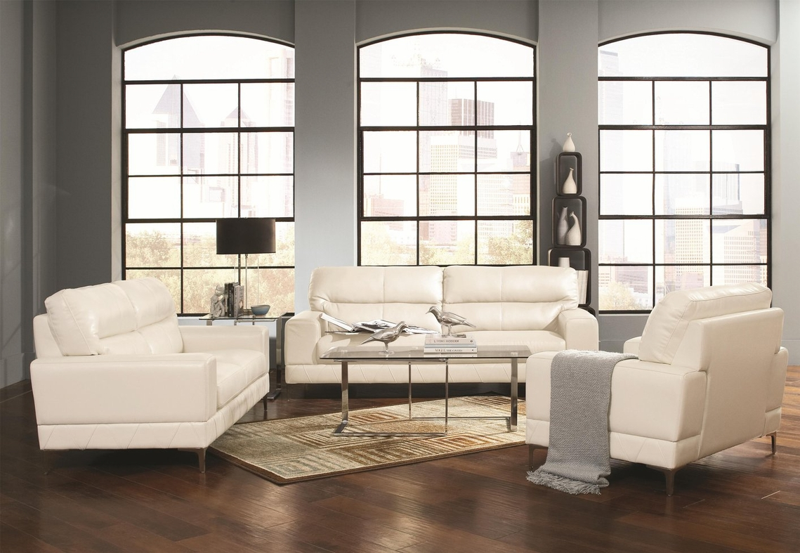 Benjamin white leather chair steal a sofa furniture for Bedroom furniture 98203