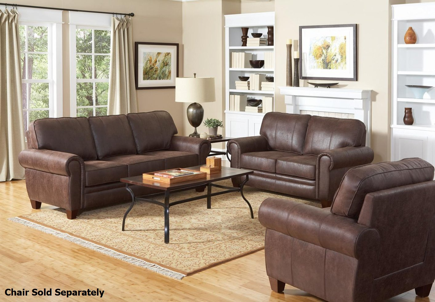 Bentley Brown Fabric Sofa And Loveseat Set