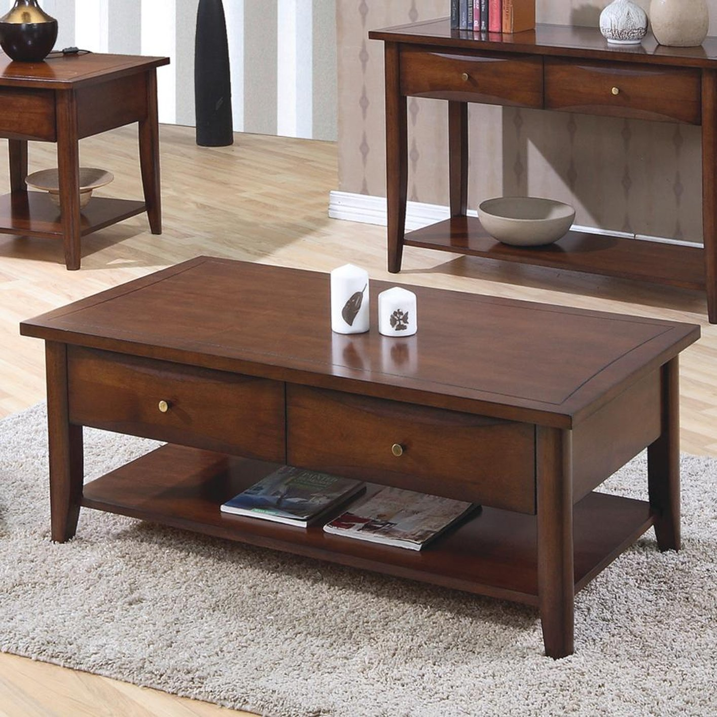 Coaster Bentley 700958 Brown Wood Coffee Table Steal A