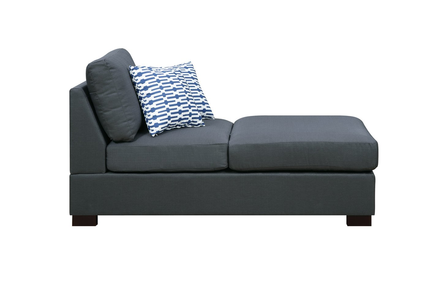 poundex camille f7990 black fabric chaise lounge steal a sofa furniture outlet los angeles ca. Black Bedroom Furniture Sets. Home Design Ideas