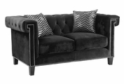 Black Fabric Loveseat