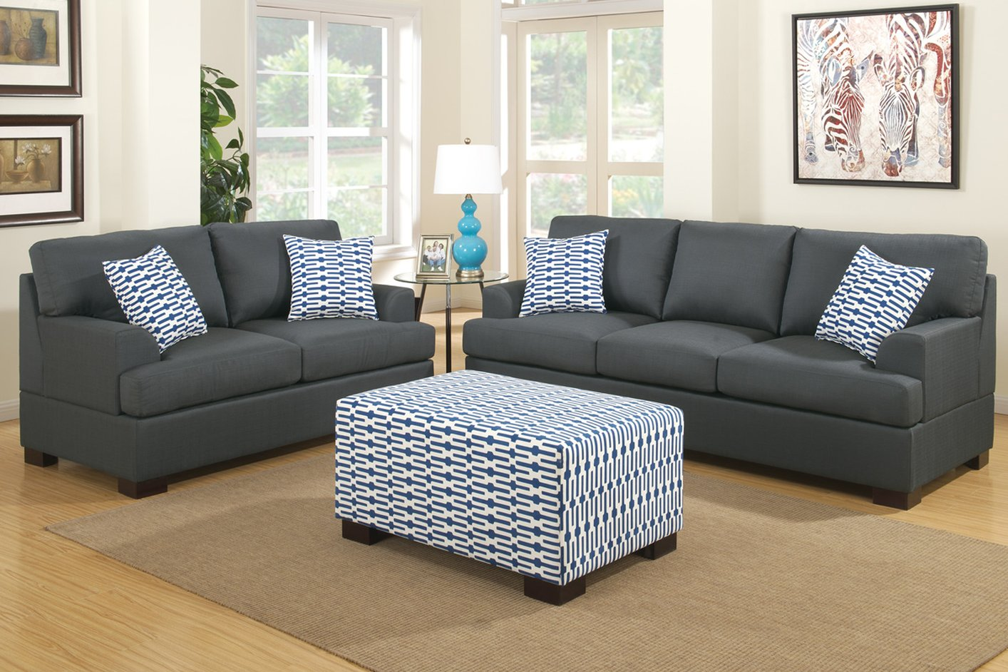 Steal A Sofa Furniture Outlet: Camille Black Fabric Loveseat