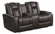Black Fabric Power Reclining Loveseat