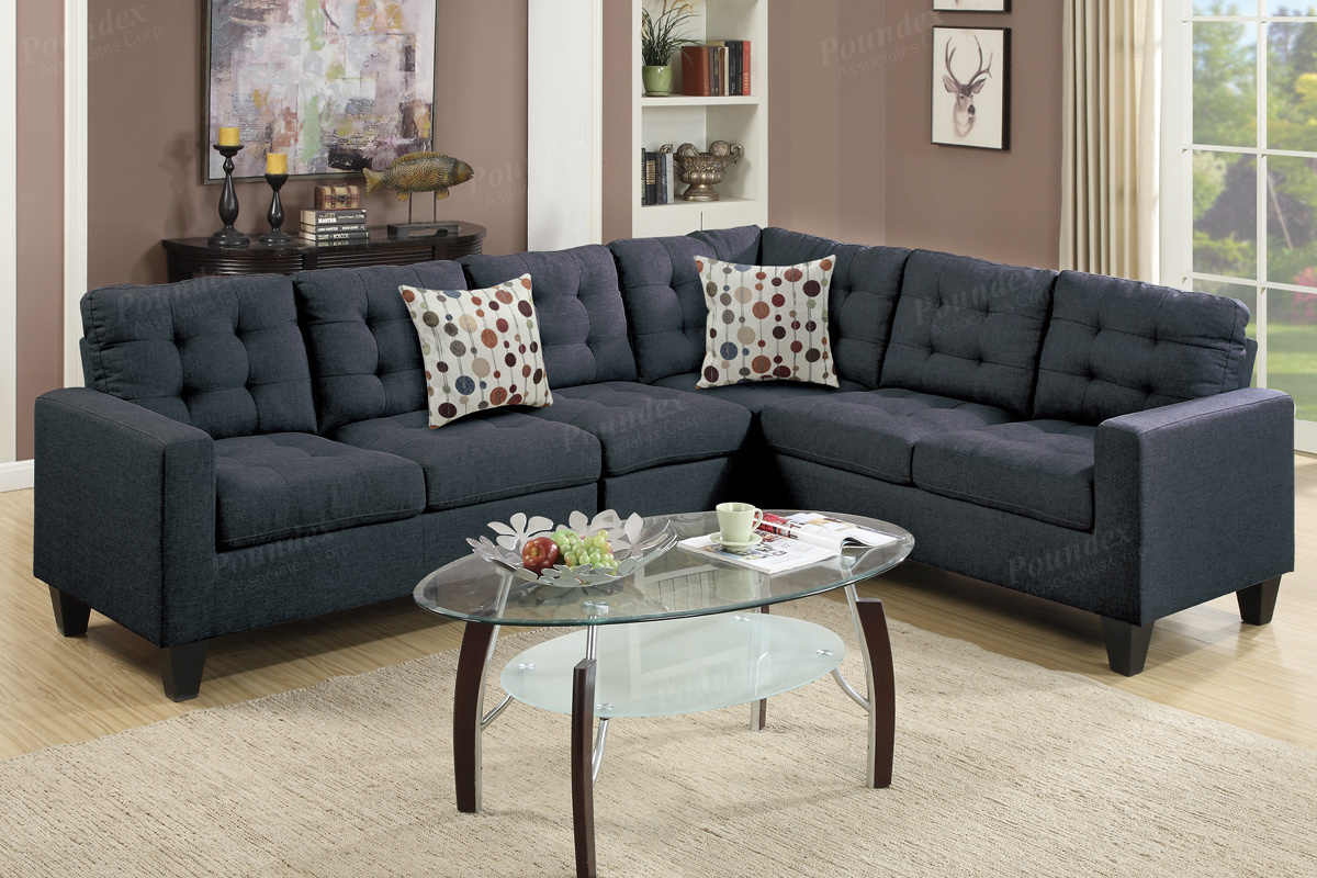 Peta Black Fabric Sectional Sofa