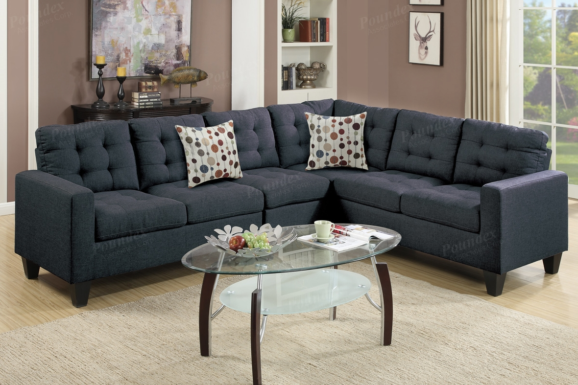 Black Fabric Sectional Sofa - Steal-A-Sofa Furniture Outlet Los ...