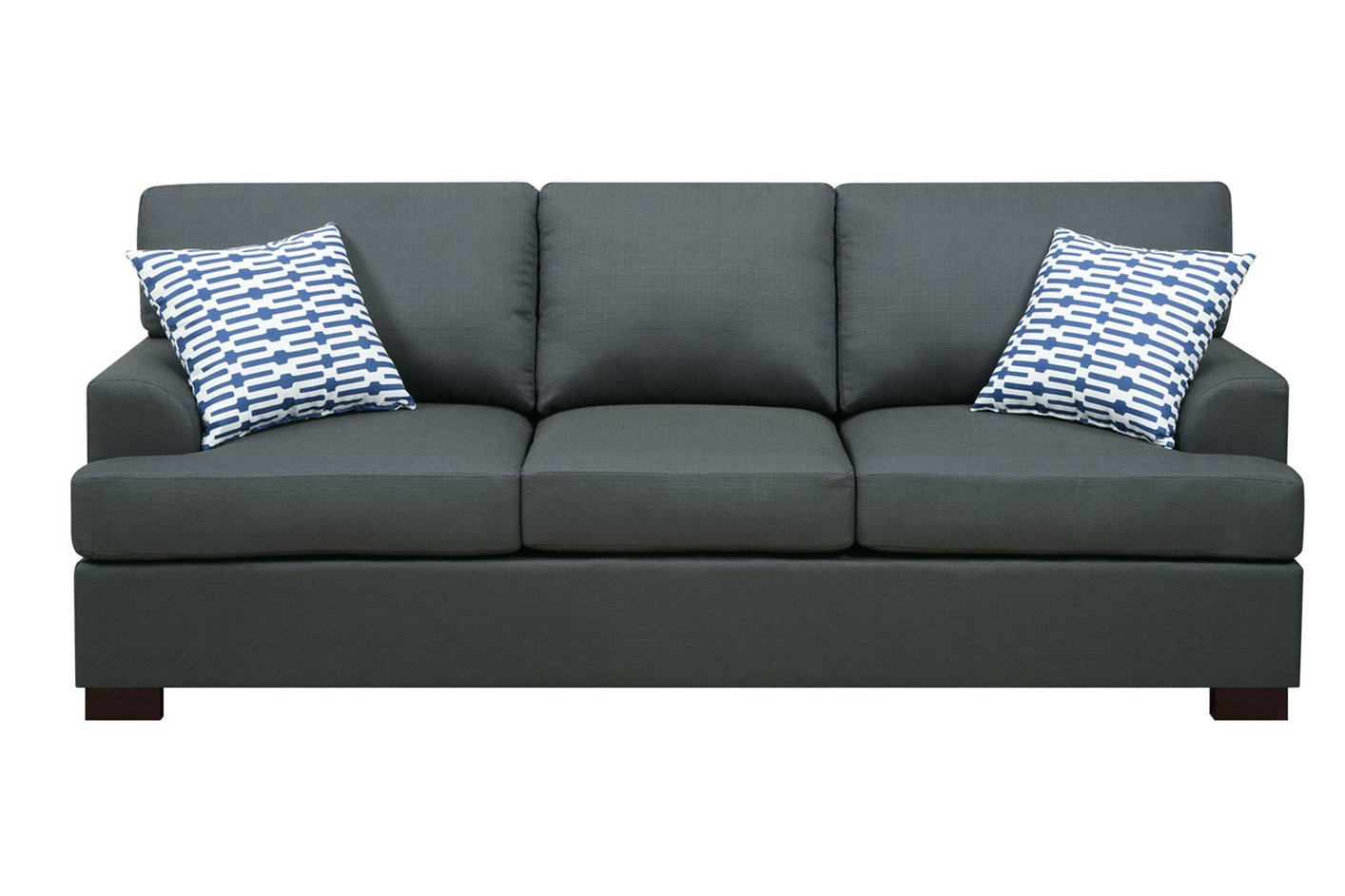 Camille black fabric sofa steal a sofa furniture outlet for Black fabric couches