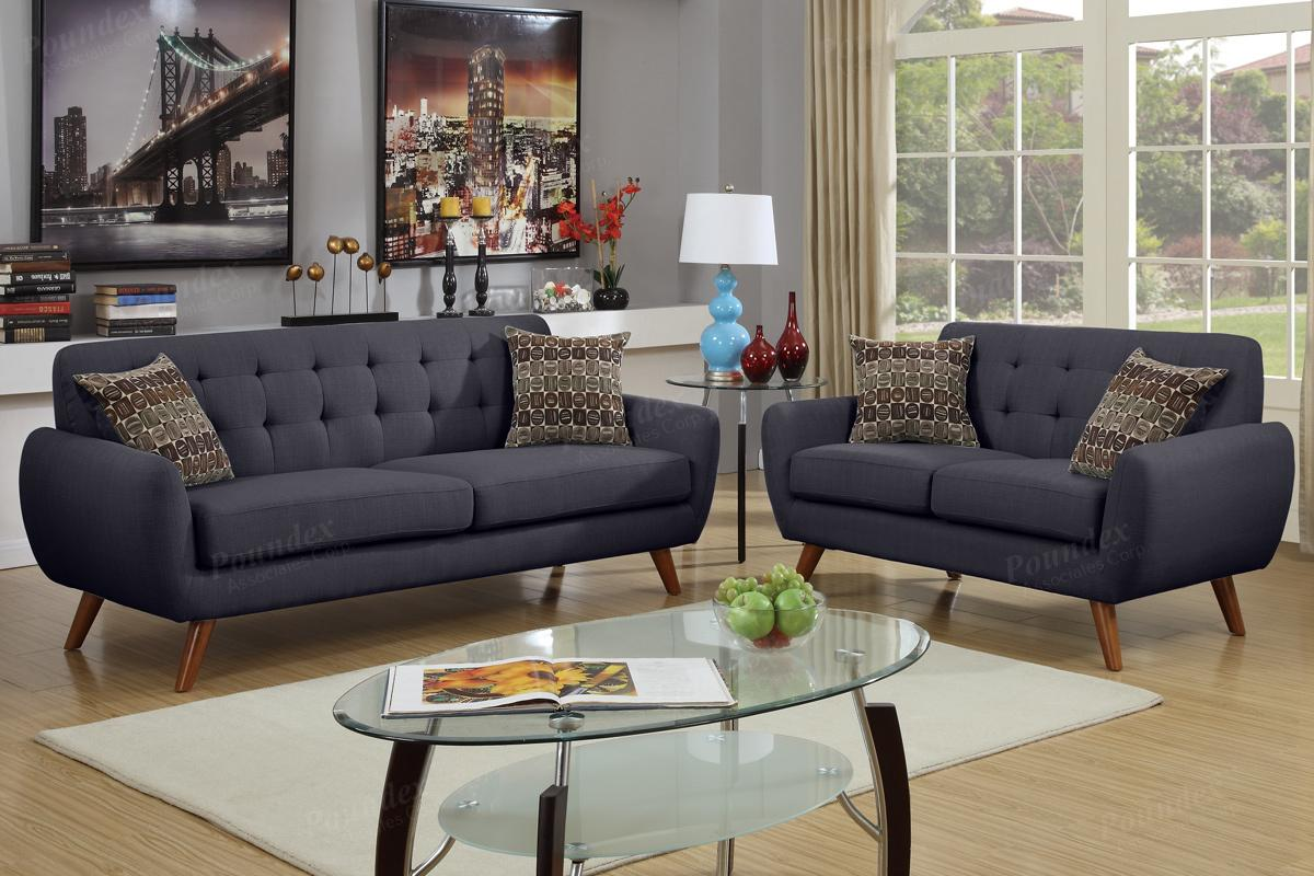 Black fabric sofa and loveseat set steal a sofa for Black fabric couches