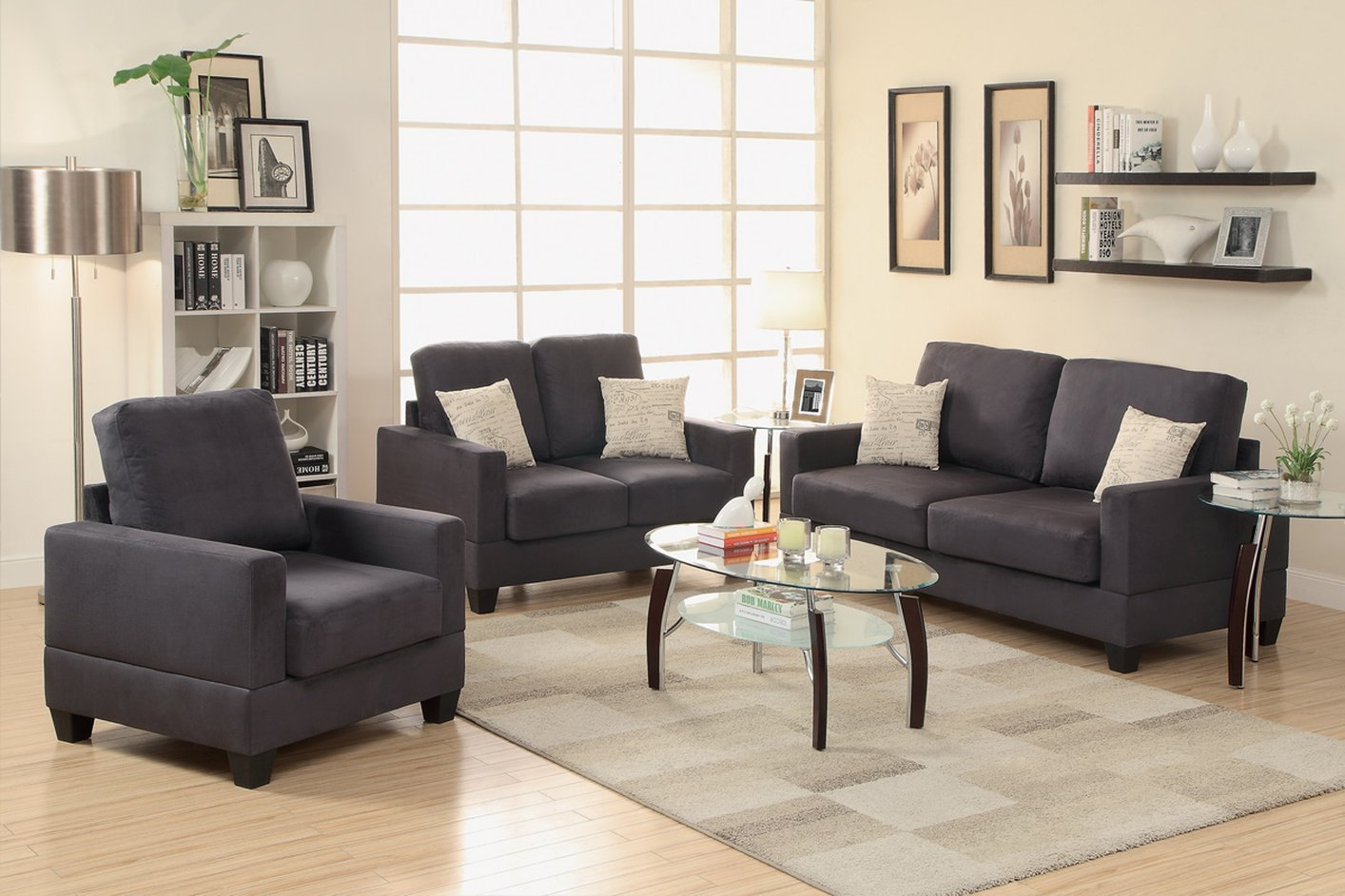 Poundex Rebel F7911 Black Fabric Sofa Loveseat And Chair Set Steal A Sofa Furniture Outlet Los