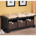 Black Fabric Storage Bench