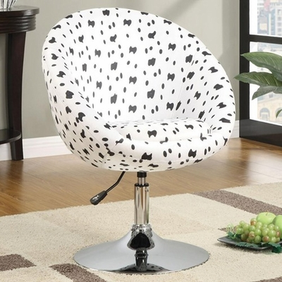 White Fabric Swivel Chair