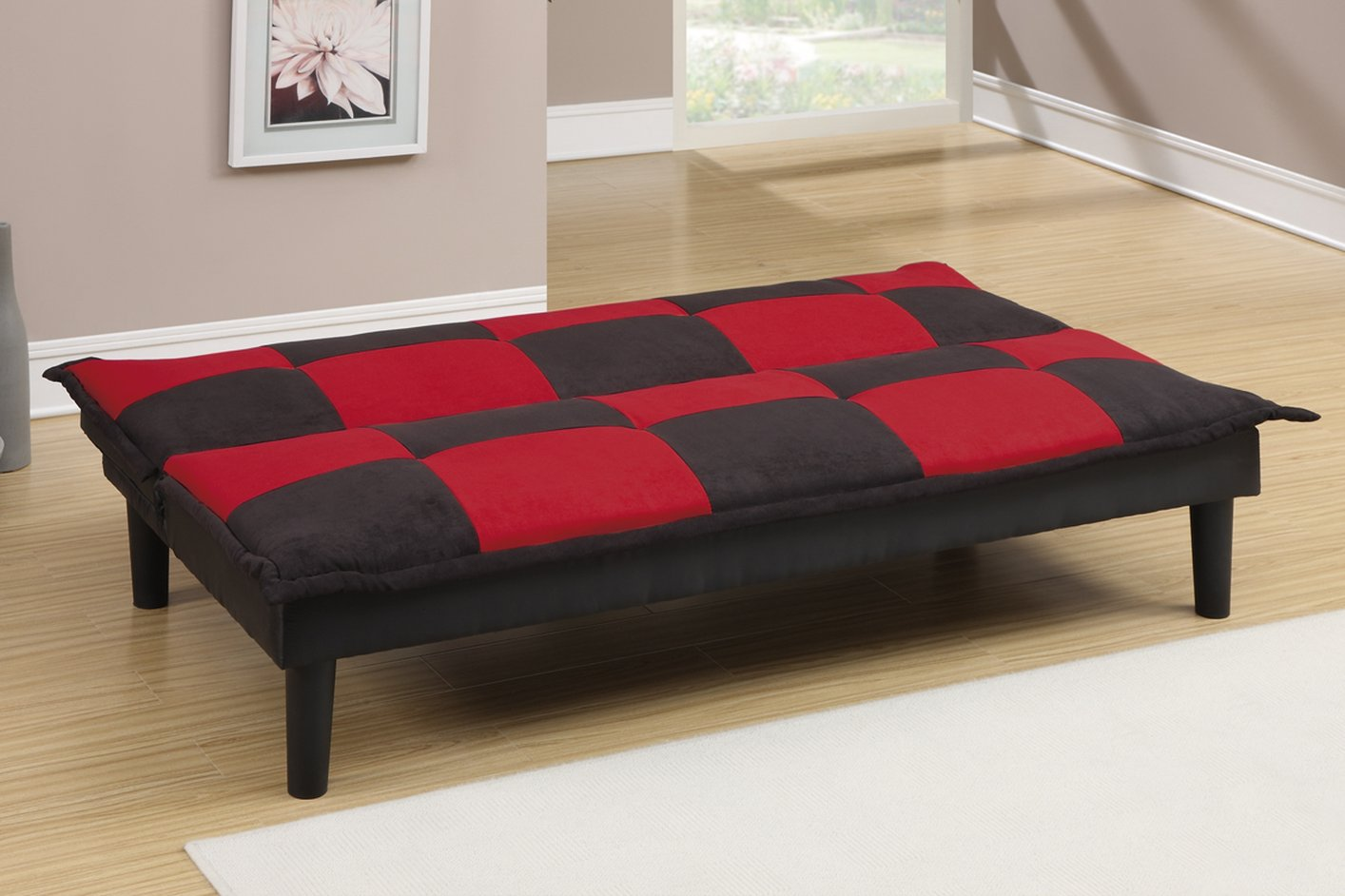 Poundex f7001 black twin size fabric sofa bed steal a for Twin sofa bed