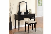 Black Wood Vanity Set with Stool
