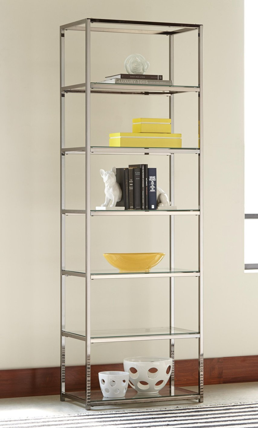 Black Glass Bookcase - Steal-A-Sofa Furniture Outlet Los Angeles CA