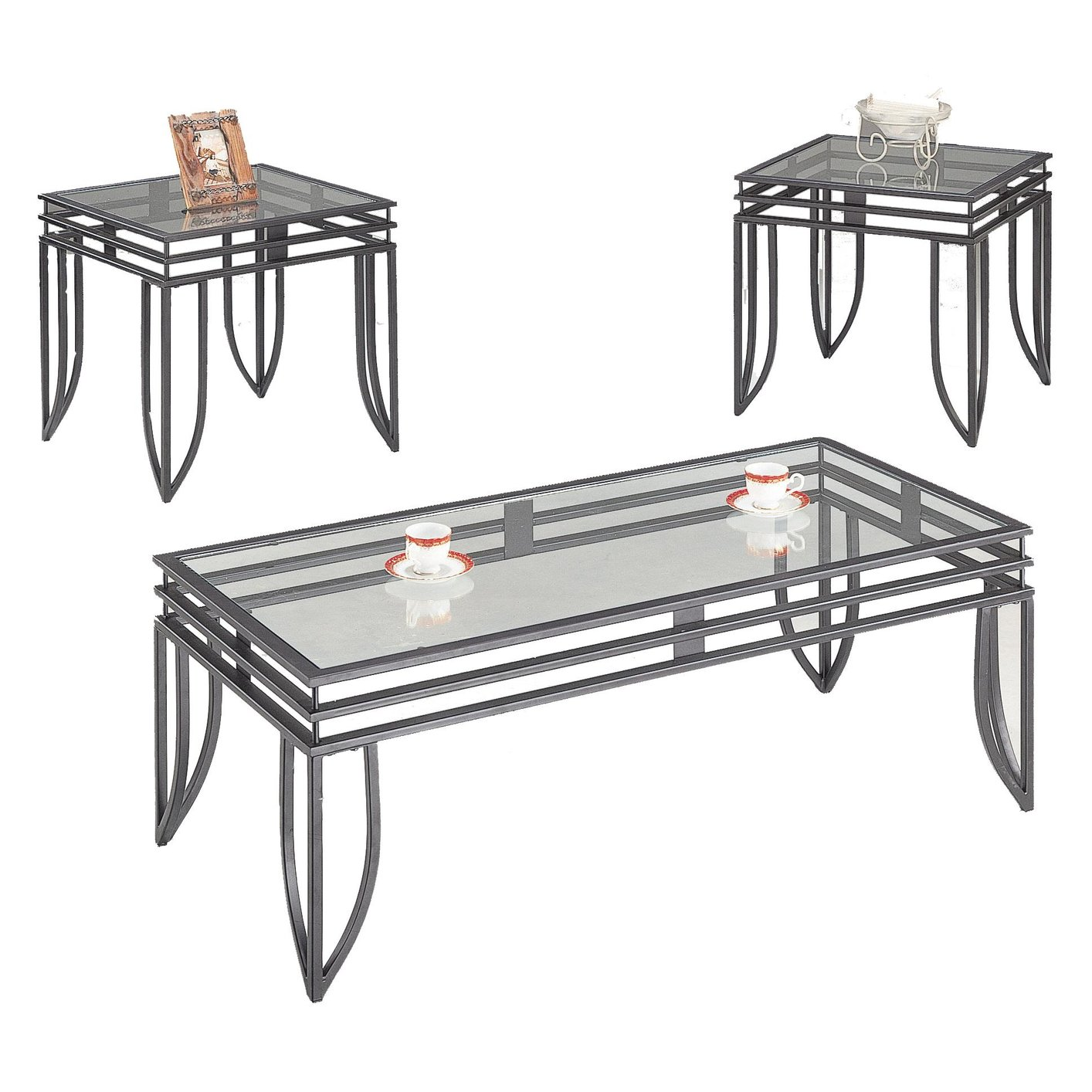 Black Glass Coffee Table Set Steal A Sofa Furniture Outlet Los