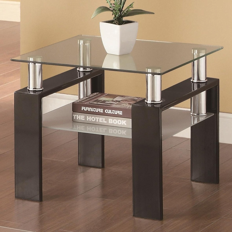 Coaster 702287 black glass end table steal a sofa for Glass end tables
