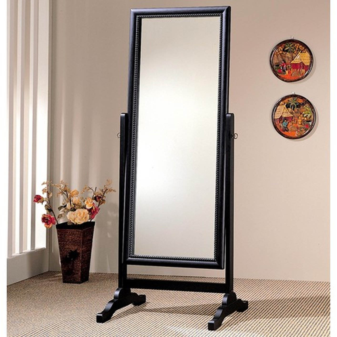 Black glass floor mirror steal a sofa furniture outlet for Glass floor mirror