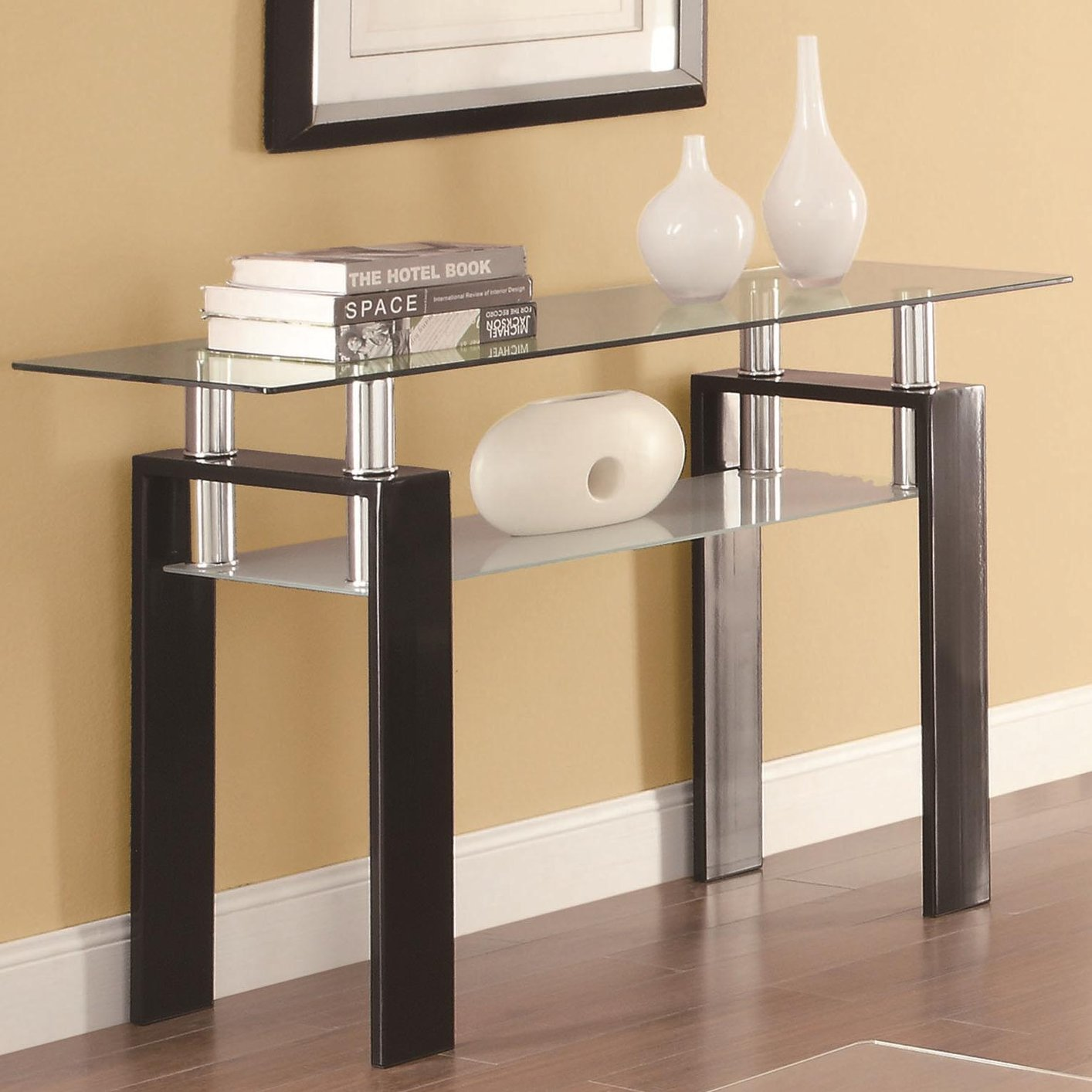 Exceptionnel Black Glass Sofa Table