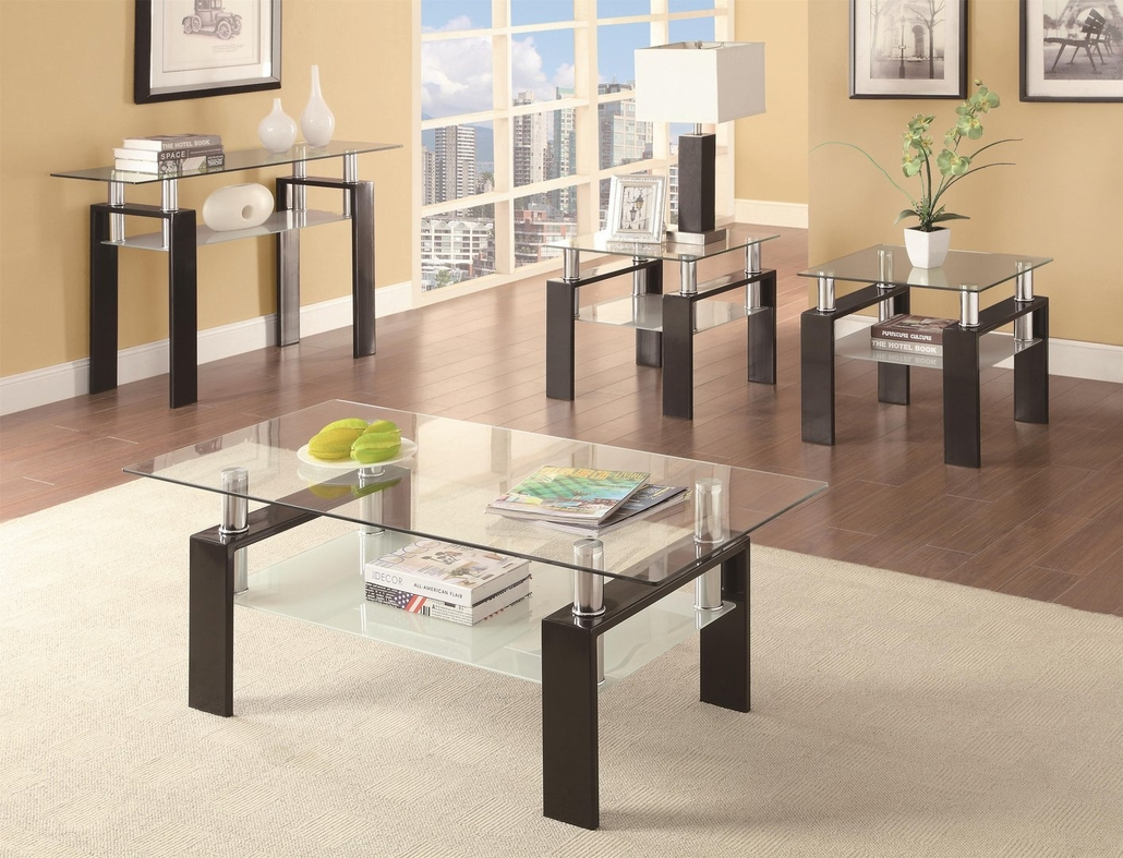 black glass sofa table  stealasofa furniture outlet los angeles ca - in stock