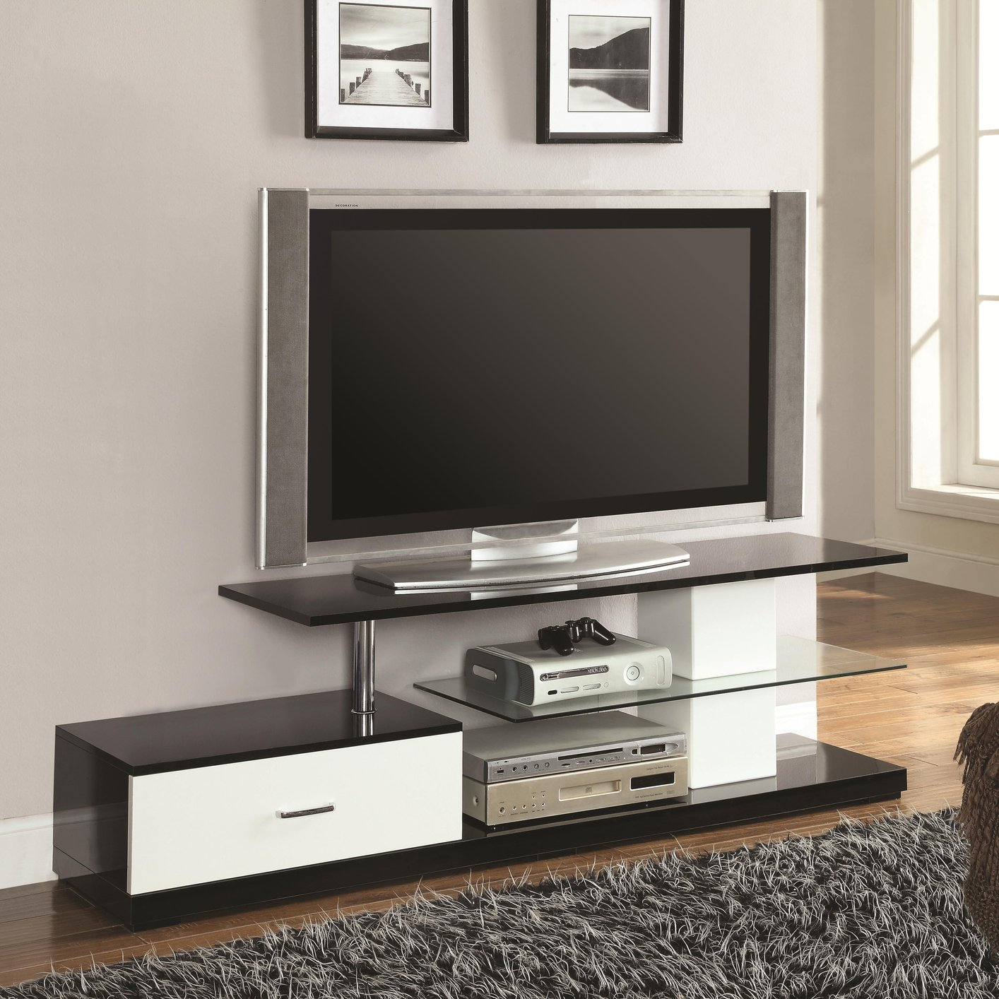 coaster 700733 black glass tv stand steal a sofa furniture outlet los angeles ca. Black Bedroom Furniture Sets. Home Design Ideas