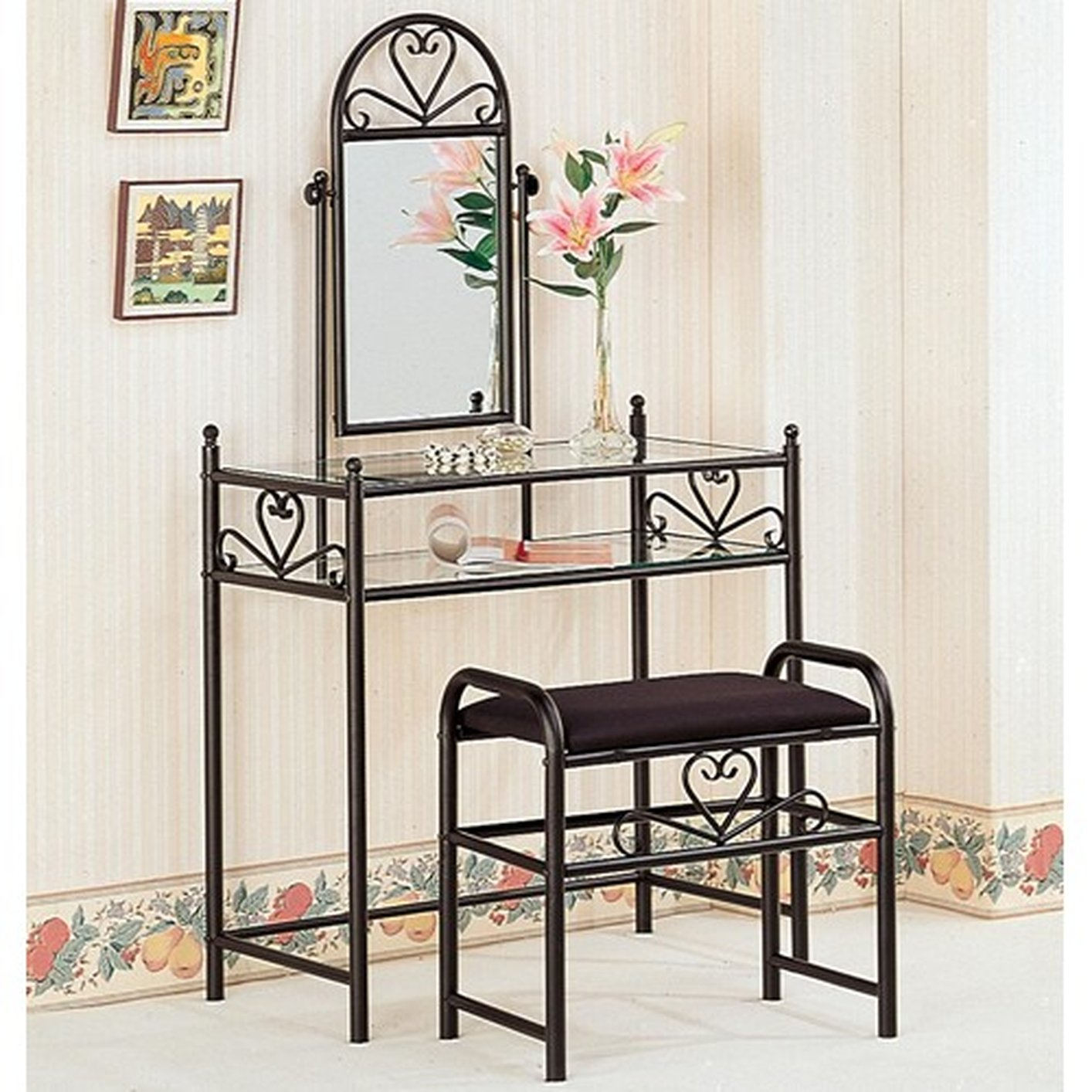 Black Glass Vanity Set with Stool - Steal-A-Sofa Furniture Outlet ...