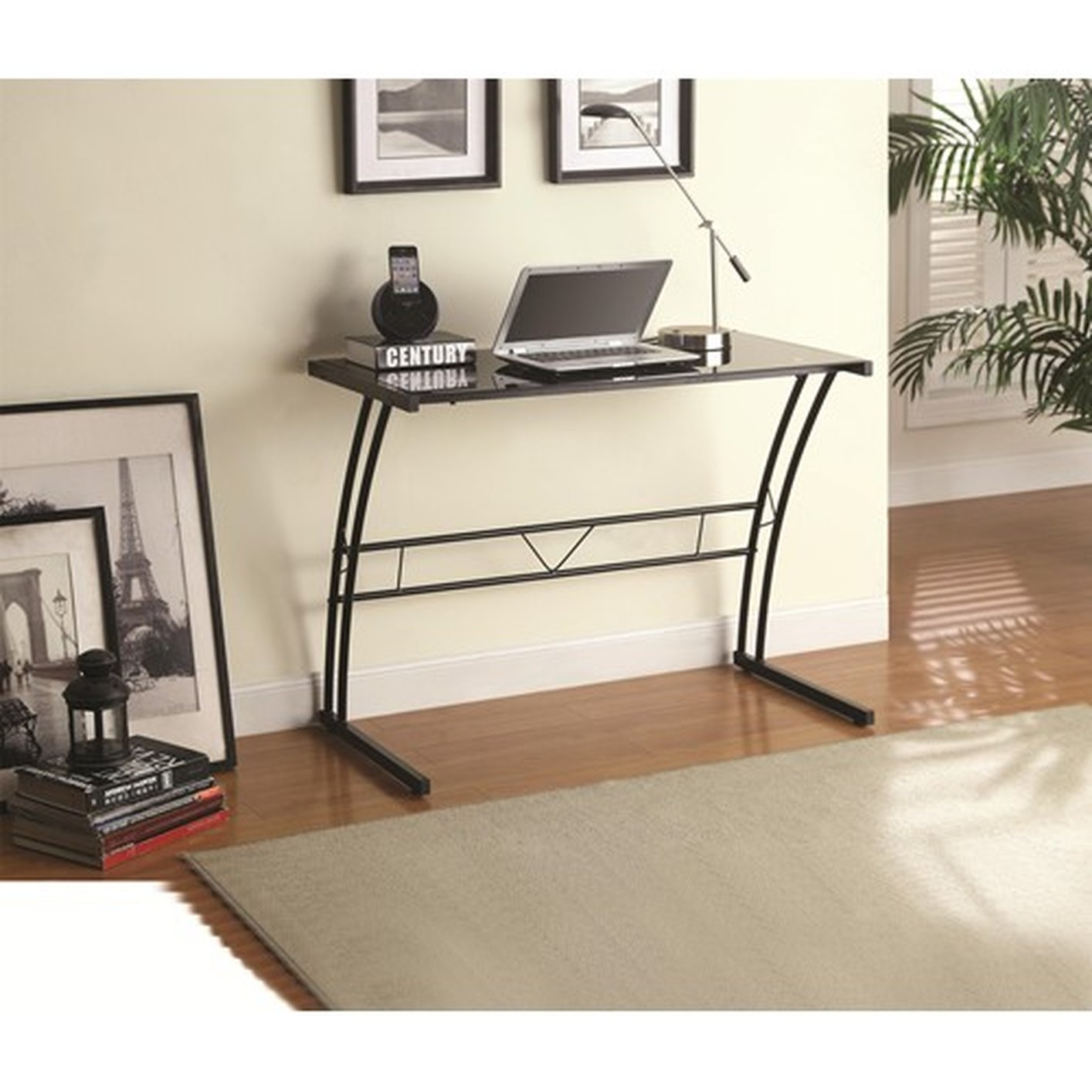 coaster  black glass writing desk  stealasofa furniture  - black glass writing desk black glass writing desk